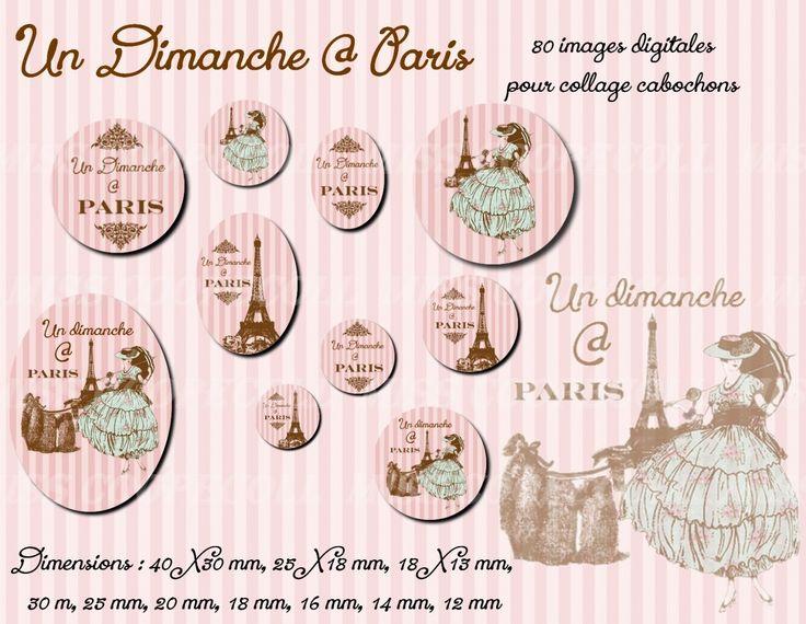 """80 images pour collage digital cabochons bijoux 'un dimanche à Paris"""" : Loisirs créatifs, scrapbooking par miss-coopecoll"""
