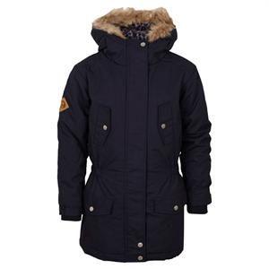 Marineblå vinterjakke med pelskrave på hætte fra Cost:bart - model Diane.