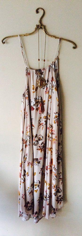 Image of Celebrate Fall SALE!!Thin strap bohemian floral beach dress  midi/maxi length pockets!!