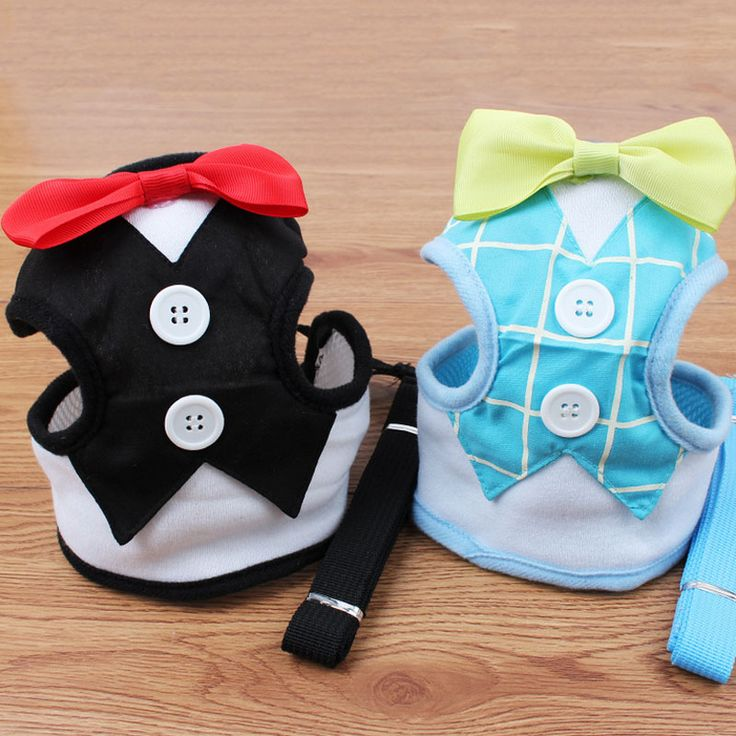 Fashion Dog Harness & Leash Pet Leads for Small Dogs Puppy Dog Harness Vest with Bow Tie Party & Wedding Formal Tuxedo Costume #Affiliate