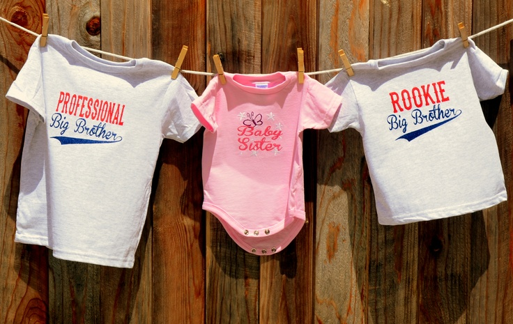 """Professional Big Brother"" ""Baby Sister"" and ""Rookie Big Brother"" t-shirts  Couture Bambino shirts are $25 each"