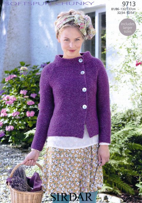 Knitted cardigan in garter stitch with asymmetrical front closure and funnel neckline. Sidar - 9713 - Jacket. Pattern $5.95.
