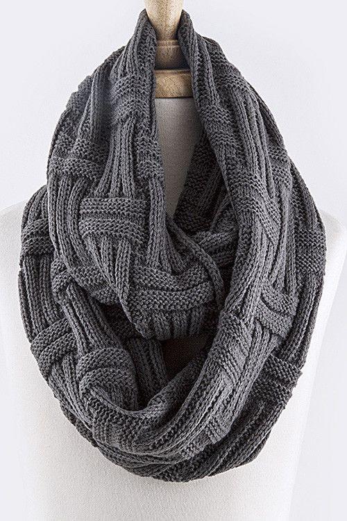 Abbey Woven Infinity Scarf - Grey