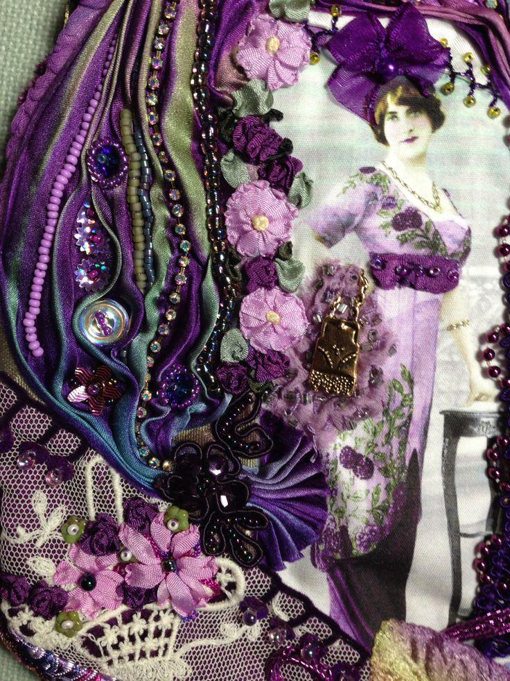Crazy quilt purse with silk shibori. Pat Winter