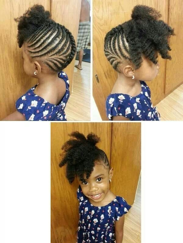 Black Little Girls Hairstyles cornrowponytail hairstyle on natural hair Find This Pin And More On Little Black Girls Hair By Cadcat81