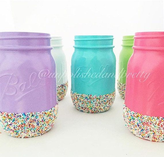 Hey, I found this really awesome Etsy listing at https://www.etsy.com/listing/237236165/painted-mason-jars-with-candy-sprinkles