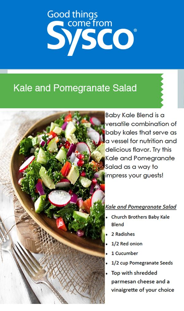 Baby Kale Blend is a versatile combination of baby kales that serve as a vessel for nutrition and delicious flavor. Try this Kale and Pomegranate Salad as a way to impress your guests!