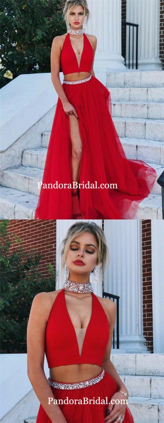 2018 Two Piece Prom Dress Simple Modest Beautiful Red Cheap Long Prom Dress, Prom Dresses, PD0012 – Kleidung