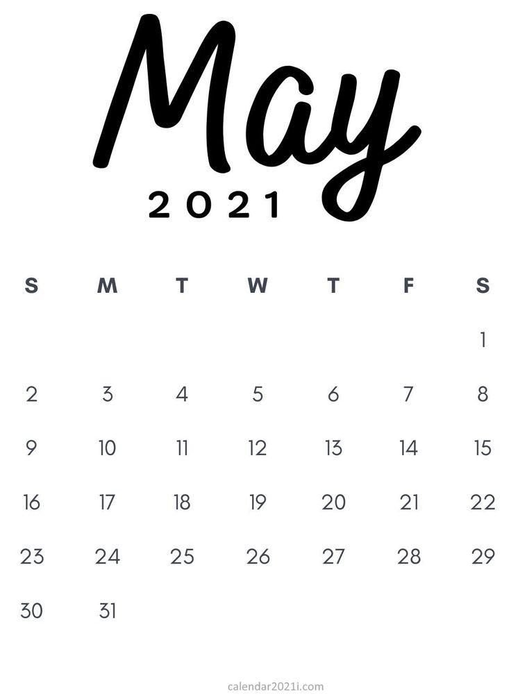 May 2021 Minimalist Printable Calendar template design in ...