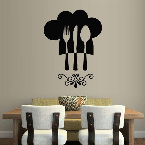 Wall Vinyl Sticker Decals Decor Art Kitchen Design Mural Spoon Knife Fork Retro Poster (z1849)