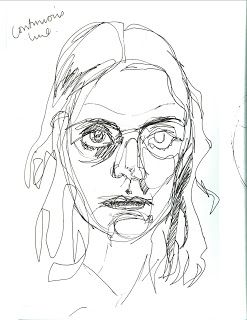 continuous line to draw the face