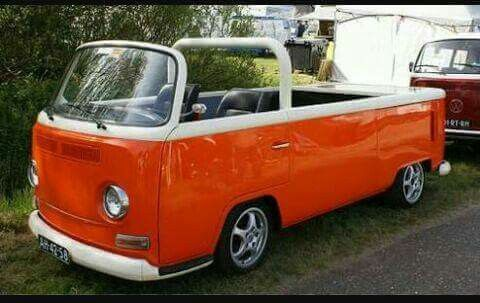 Open top VW bus with roll bar