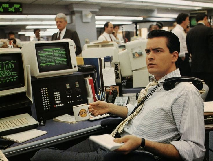 Charlie Sheen in the 1987 film Wall Street.