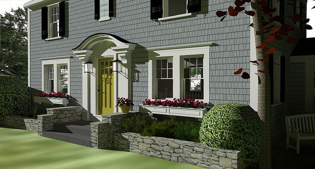 Potential design for our front door gray shingle siding - Gray house yellow door ...