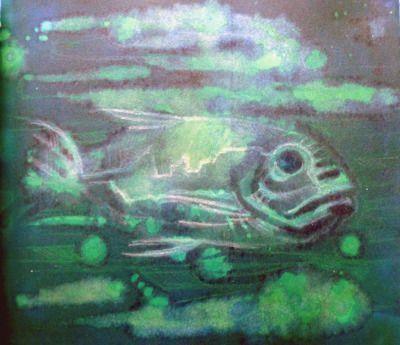 """""""Pesce"""", monotipo raccolta nel book""""Colapesce"""", 2014."""