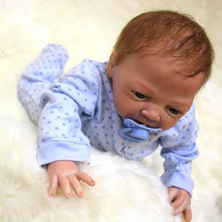 18 Inch Silicone Baby Doll Lifelike Reborn With Rooted Mohair