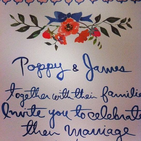 Le faire-part du mariage de Poppy Delevingne et James Cook http://www.vogue.fr/mariage/inspirations/diaporama/la-robe-chanel-sur-mesure-de-poppy-delevingne/18791/image/1001361#!le-faire-part-du-mariage-de-poppy-delevingne-et-james-cook