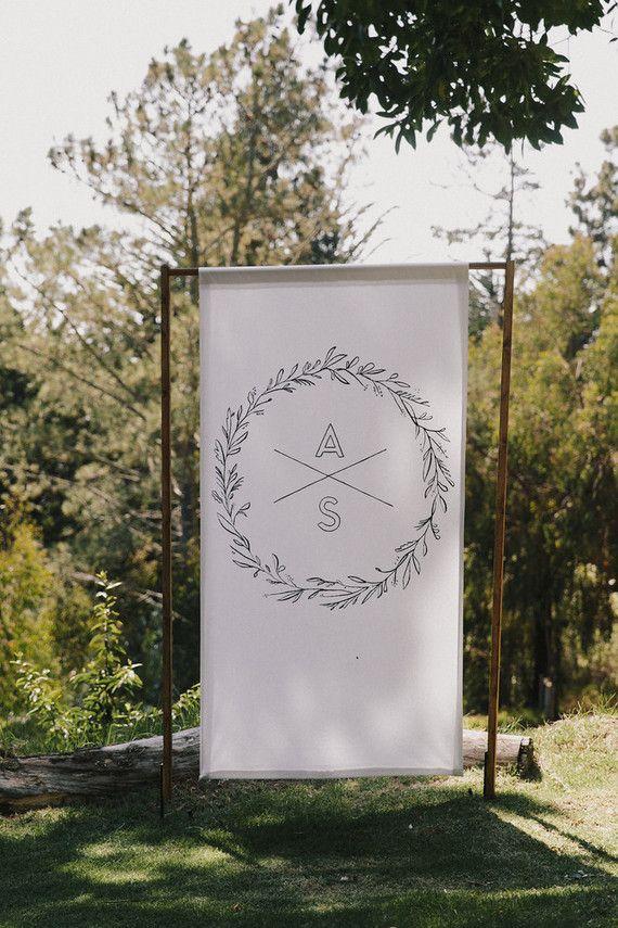 Monogramed wedding signage