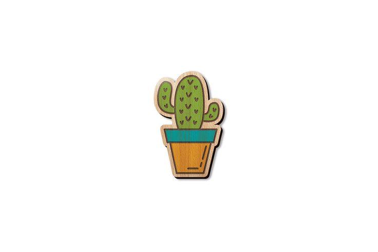 """Деревянный значок """"Кактус"""" из новой коллекции Kitchen garden. Крепится на булавке. Ручная работа. Сделано в Санкт-Петербурге."""