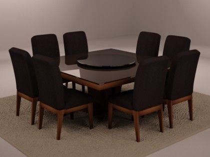 mesa de jantar com tampa giratoria preta