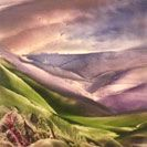 A Valley Divided, an encaustic painting