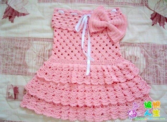 Вязание крючком детского платья                Схема детского платья крючком     &n...