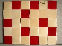 faience cuisine 10x10 carrelage damier aleatoire beige chamois et rouge ancien img_5625 - Faience Cuisine Rouge Et Blanc