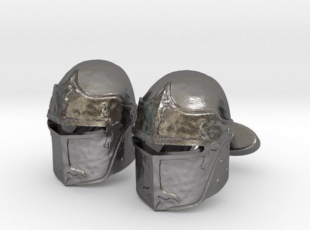 Medieval Helmet Cufflinks by FLAMBEE' #cufflinks #spinki #3D #flambee #steel #medieval #knight #helmet #shapeways