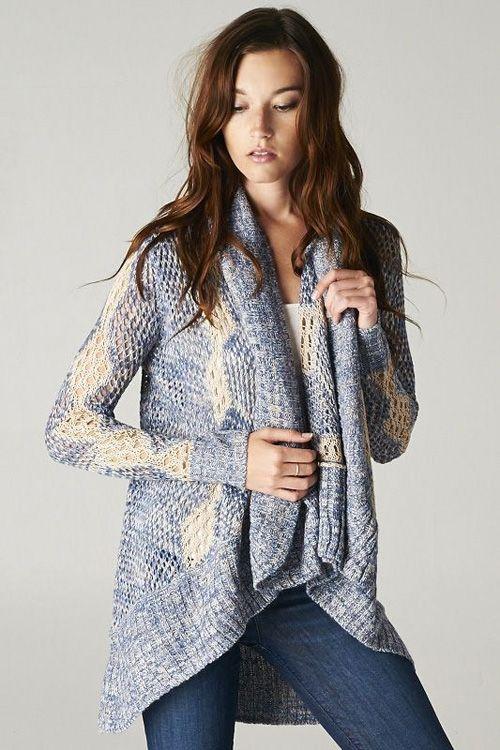 Amylynne Crochet Knit Sweater in Soft Blue on Emma Stine Limited