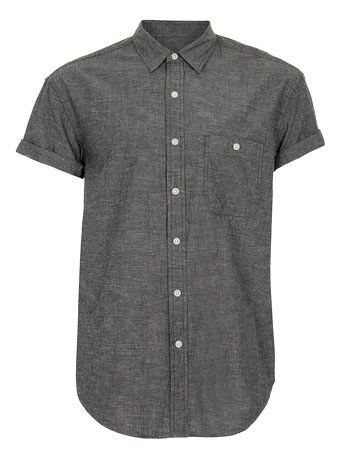 BLACK NEP CHAMBRAY OVERSIZED SHORT SLEEVE SHIRT - Men's Shirts  - Clothing