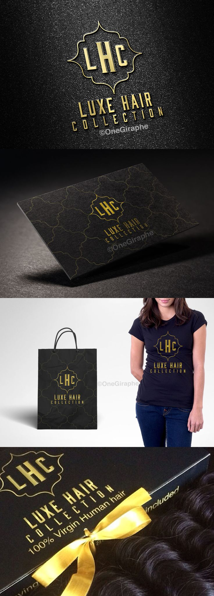 Luxe Hair Collection -Brand Identity by OneGiraphe www.One-Giraphe.com #brand #brandidentity #luxury #gold #black #branding #logo #logodesign #design #hair #cosmetics #beauty #hair #virginhair  #logo #businesscard #stationery #packaging #tshirt