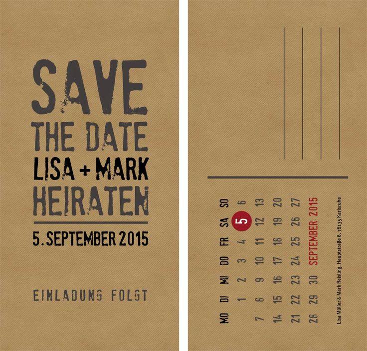 Save-the-Date-Karte Kraftpapier-Look