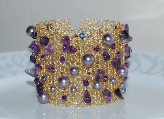 Crystal Pearl and Amethyst Chip Cuff Bracelet by MyasCreations, $89.99