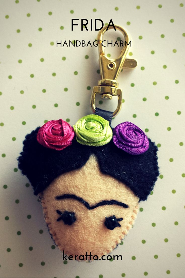 Handbag charm, Frida doll with flowers in hotpink, lemon and purple, handmade in…