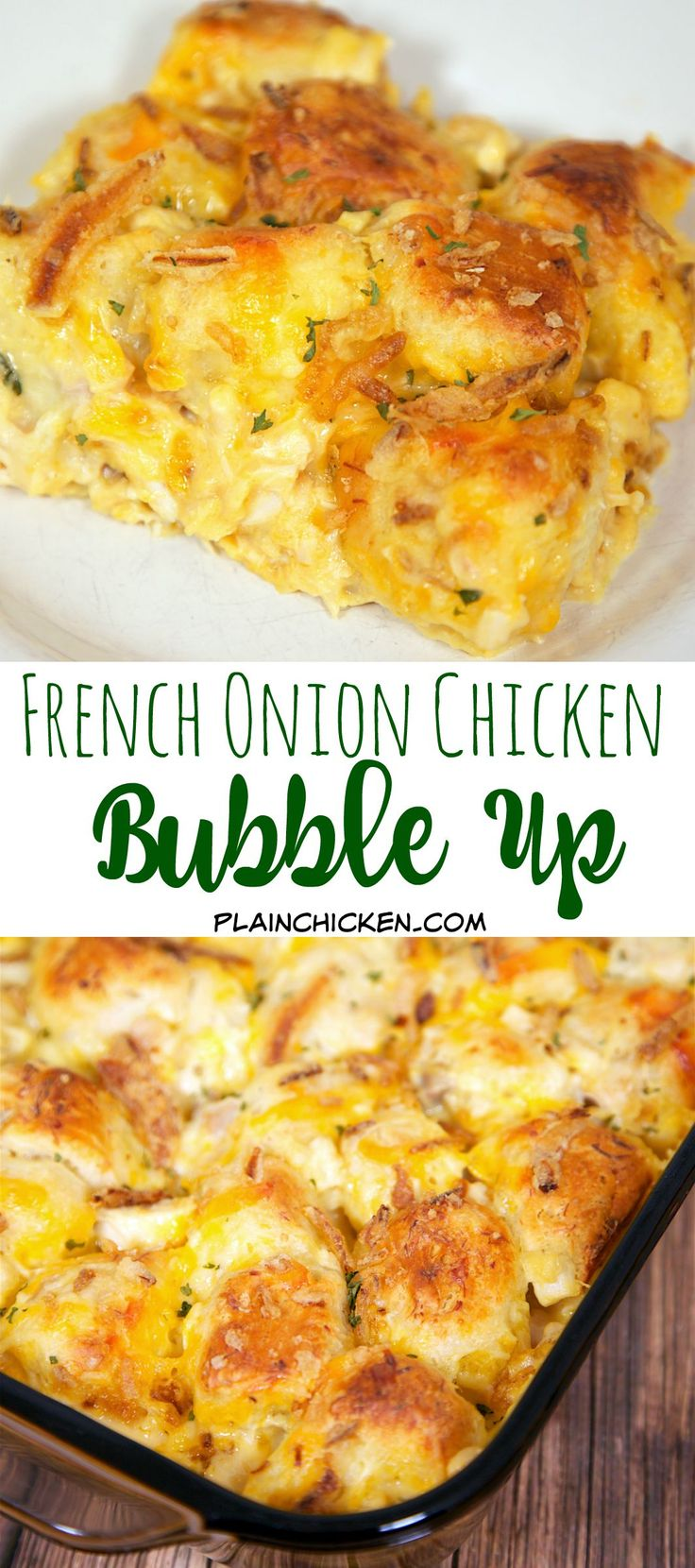 French Onion Chicken Bubble Up – AMAZING! We literally licked our plates! Chicken, French Onion Dip, Chick