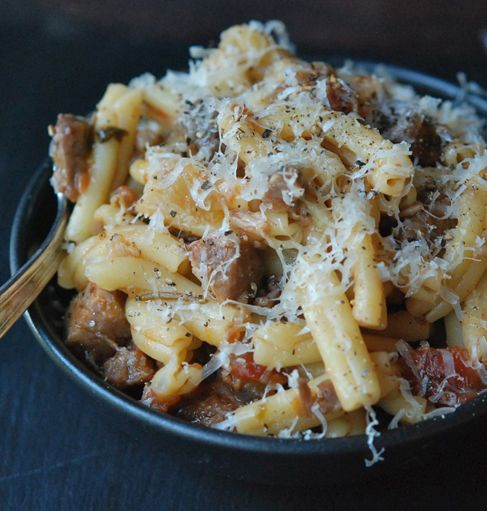 Pasta with Braised Pork, Red Wine & Pancetta #recipe