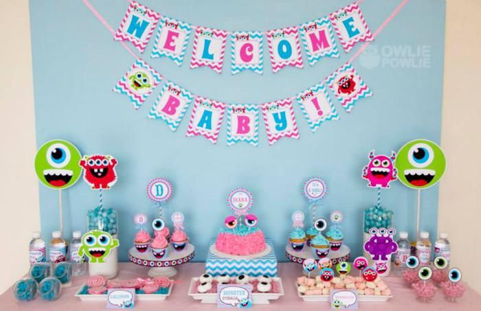 chevron baby shower decorations   Monster Baby Shower via KarasPartyIdeas.com #monster #baby #shower ...