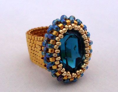 Indicolite Oval Ring 1 #beadwork #jewelry #crafts