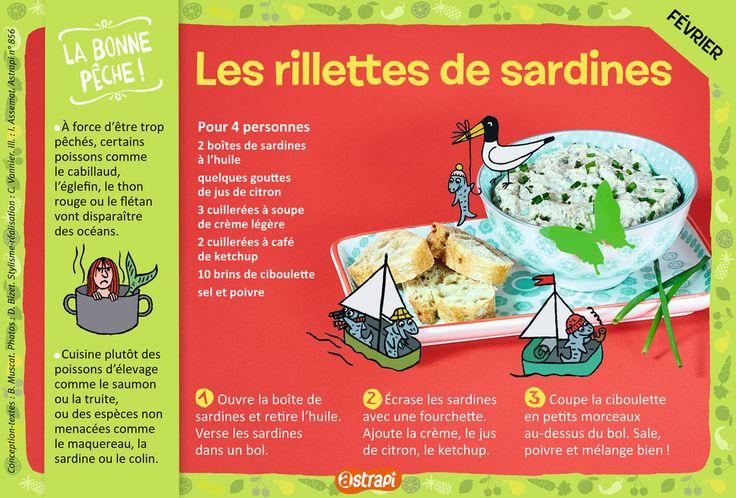 Les rillettes de sardines, une recette facile pour les enfants de 7 à 11 ans, avec des sardines à l'huile, de la crème et de la ciboulette (extrait du magazine Astrapi n°856).