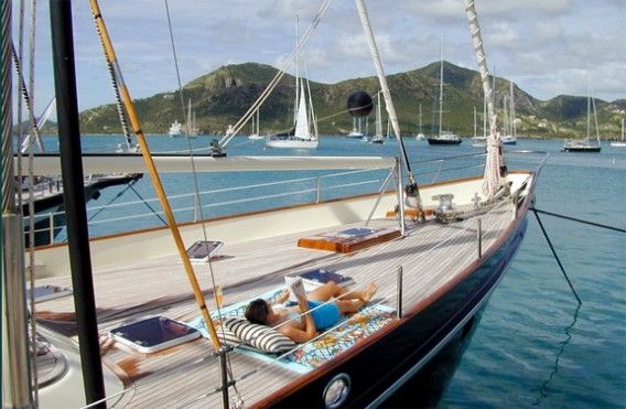 All Ocean Sailing Yachts for Sale- 89 Don Brooke Sailing Yacht Aurastel on the hook.