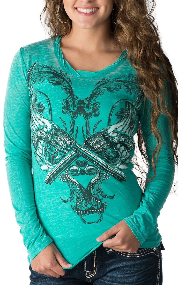 Rock & Roll Cowgirl Women's Teal with Winged Guns Long Sleeve Burnout Tee - Plus Sizes