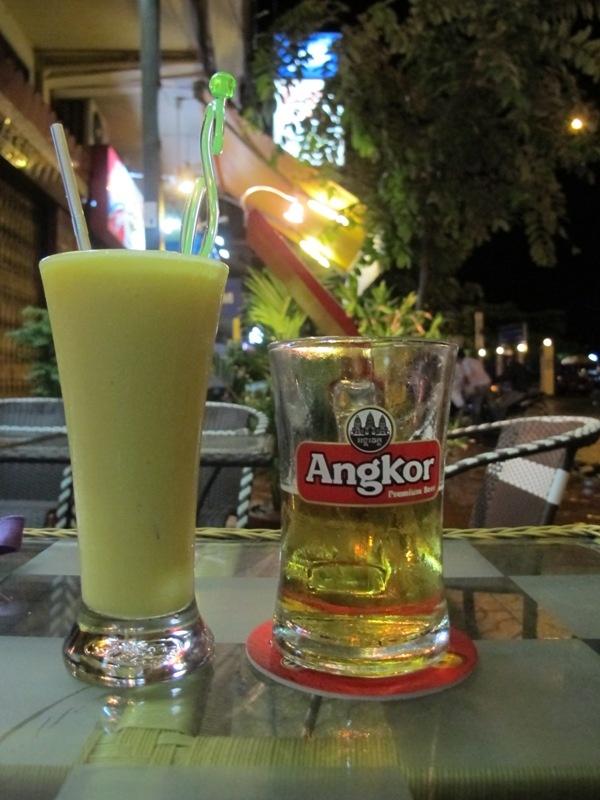 Angkor Beer versus mango lassie