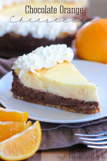 Chocolate Orange Cheesecake. #dessert #Christmas #recipe http://www.highheelsandgrills.com/2014/11/chocolate-orange-cheesecake.html