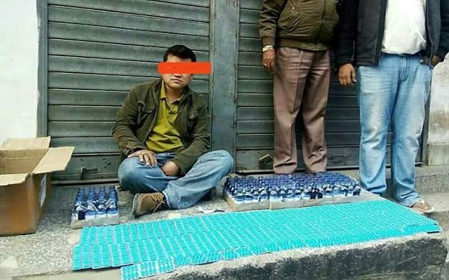 Drug Bust by Sikkim Police   Singtam Police arrests a person named Raju Rai age-32yrs of Burtuk Gangtok.  On 29 Dec evening the above named accused person was intercepted by duty personnel at mandi line at Singtam wherein 100 bottles of phencyrex-T cough syrup and 1440 spasmoproxivon plus recovered from a carton carried by the alleged person.  Furthermore cash  19500/- is also seized from his possession.  Sikkim
