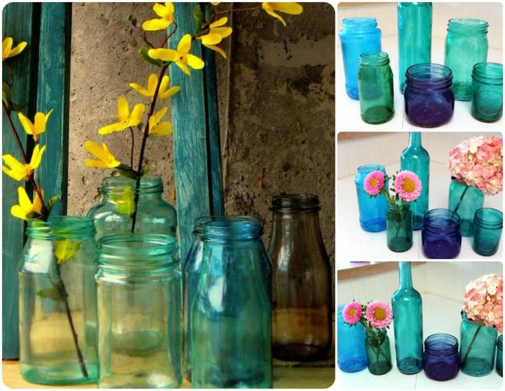 Esta idea me encanta!!! Como teñir de colores los frascos de vídrio reciclados