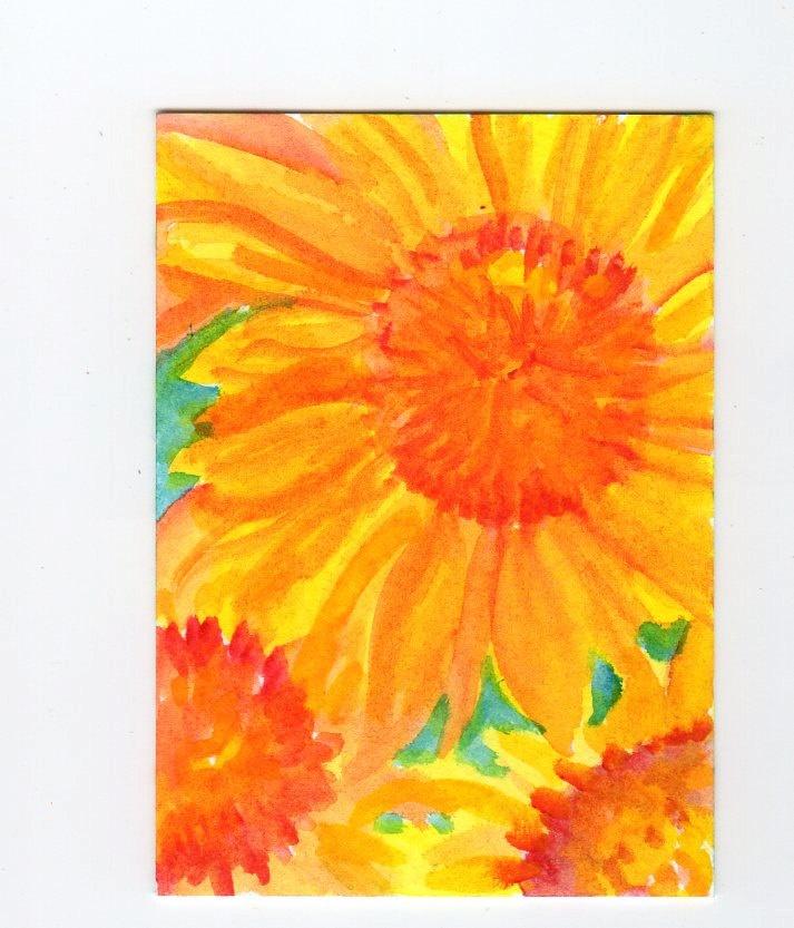 Sunflowers Painting on aqua original watercolor  ACEO Art Card. $7.00, via Etsy.