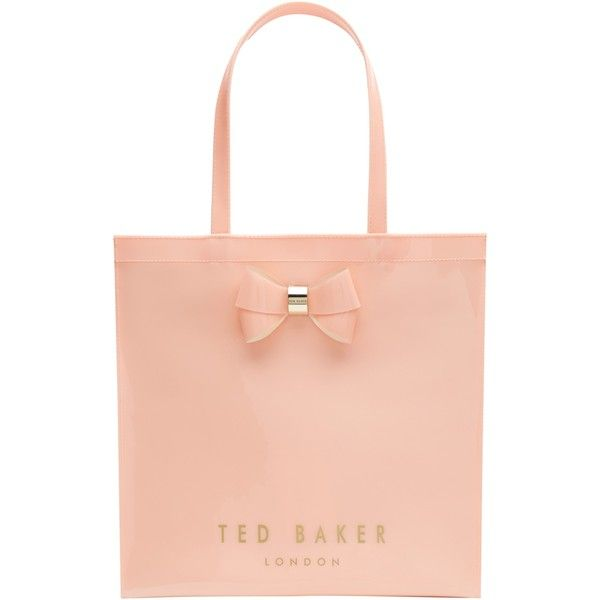 Ted Baker Sumacon Large Icon Bag , Peach ($54) ❤ liked on Polyvore featuring bags, handbags, peach, red bag, imitation purses, ted baker bag, red shopping bags and man bag