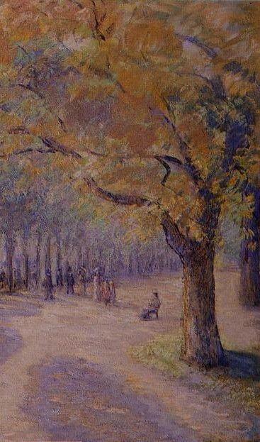 """Camille Pissarro (1830-1903) ~ """"Londres, Hyde Park"""", 1890 (Détail)~ Détrempe sur Papier posé sur Toile ~ Collection Privée"""
