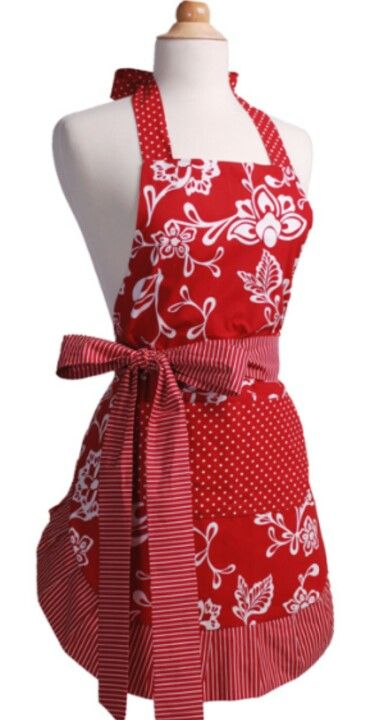 Red Floral Apron