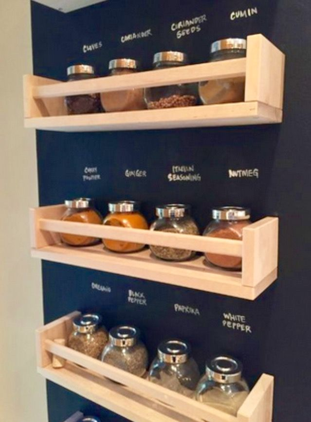 IKEA spice racks with chalkboard wall